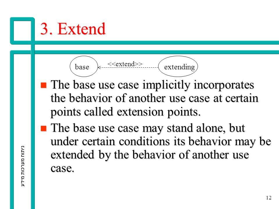 ניתוח מערכות מידע 12 3. Extend n The base use case implicitly incorporates the behavior of another use case at certain points called extension points.