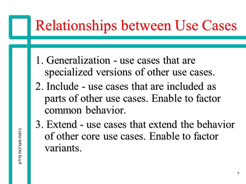 ניתוח מערכות מידע 7 Relationships between Use Cases 1. Generalization - use cases that are specialized versions of other use cases. 2. Include - use c