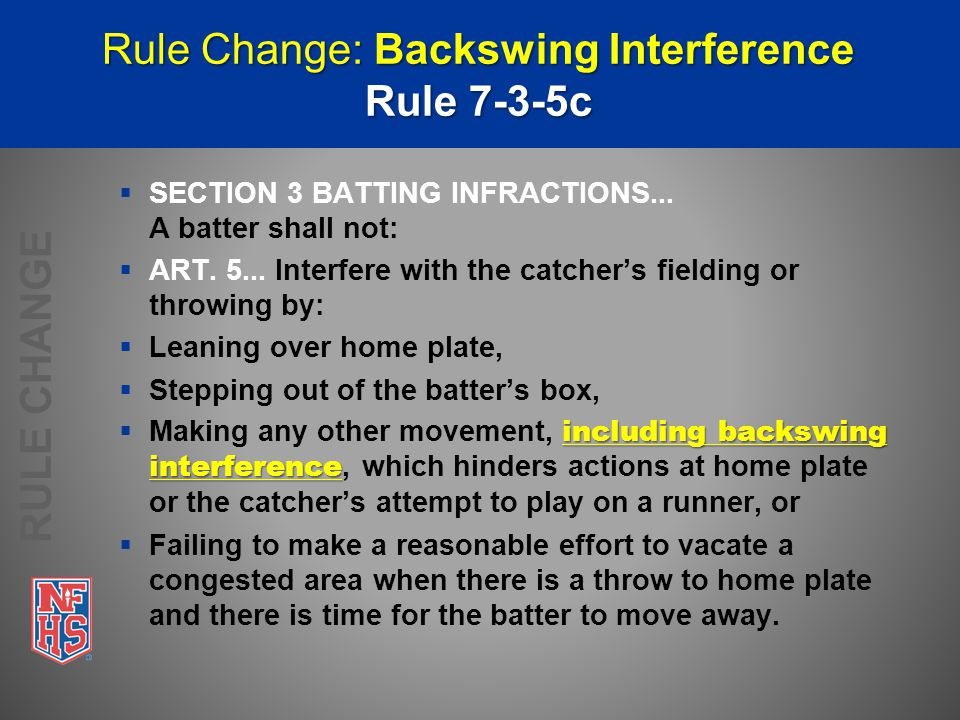 Rationale: Backswing Interference Rule 7-3-5c  Prior wording did not address this specific type of interference.