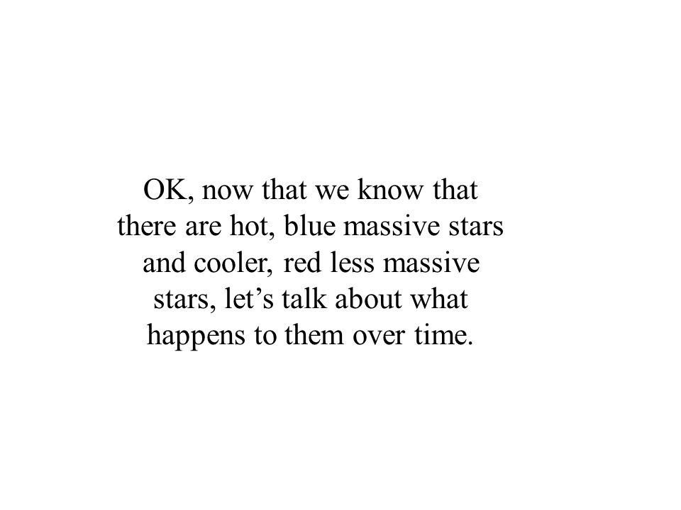 OK, now that we know that there are hot, blue massive stars and cooler, red less massive stars, let's talk about what happens to them over time.