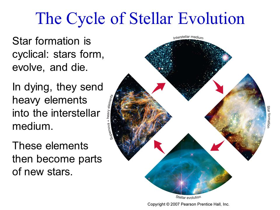 Star formation is cyclical: stars form, evolve, and die. In dying, they send heavy elements into the interstellar medium. These elements then become p