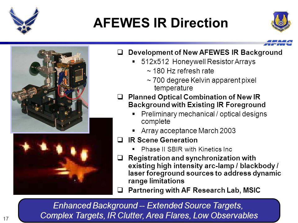 17  Development of New AFEWES IR Background  512x512 Honeywell Resistor Arrays ~ 180 Hz refresh rate ~ 700 degree Kelvin apparent pixel temperature