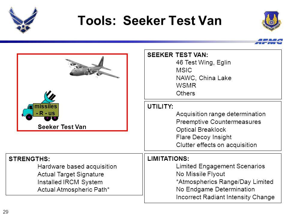 29 missiles - R - us Seeker Test Van Tools: Seeker Test Van SEEKER TEST VAN: 46 Test Wing, Eglin MSIC NAWC, China Lake WSMR Others LIMITATIONS: Limite