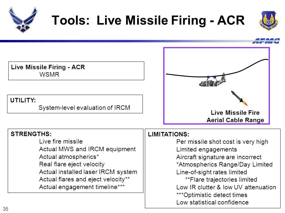 35 Tools: Live Missile Firing - ACR Live Missile Fire Aerial Cable Range Live Missile Firing - ACR WSMR UTILITY: System-level evaluation of IRCM STREN