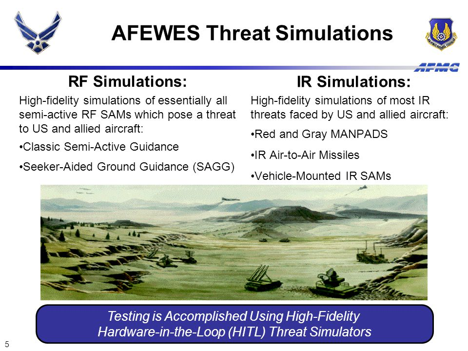 5 AFEWES Threat Simulations RF Simulations: High-fidelity simulations of essentially all semi-active RF SAMs which pose a threat to US and allied airc