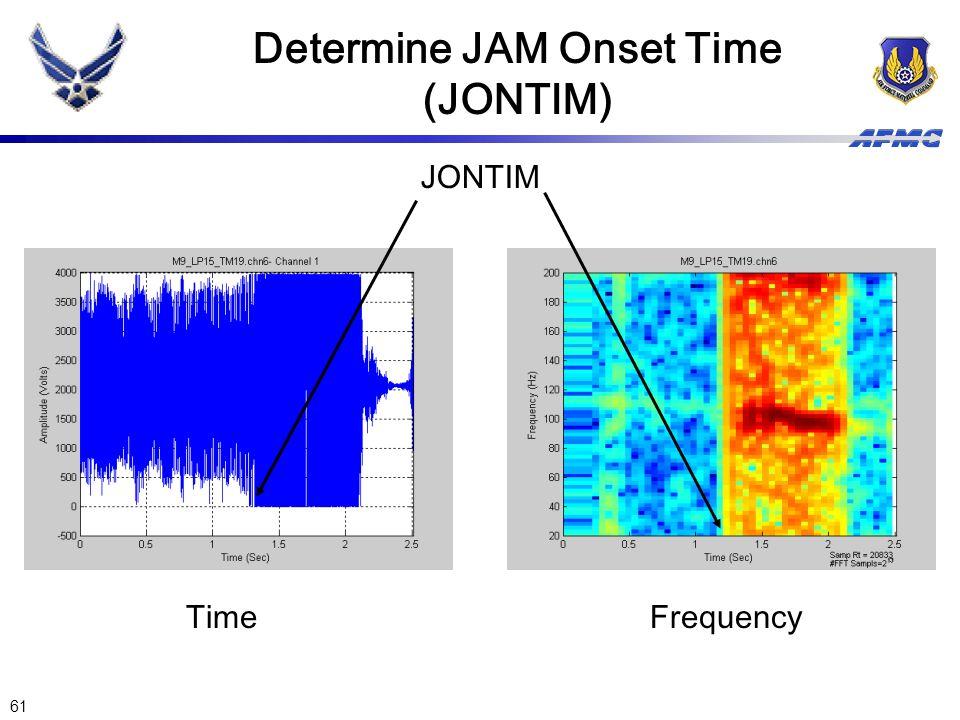 61 Determine JAM Onset Time (JONTIM) JONTIM TimeFrequency