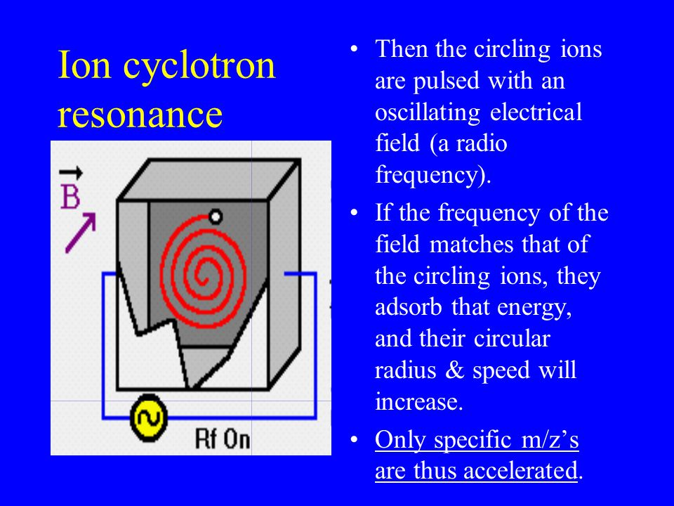 Ion cyclotron resonance Then the circling ions are pulsed with an oscillating electrical field (a radio frequency).