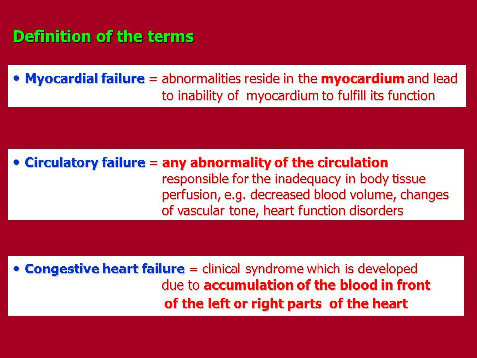 Definition of the terms Myocardial failure = abnormalities reside in the myocardium and lead Myocardial failure = abnormalities reside in the myocardi