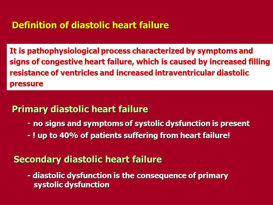 Definition of diastolic heart failure It is pathophysiological process characterized by symptoms and signs of congestive heart failure, which is cause