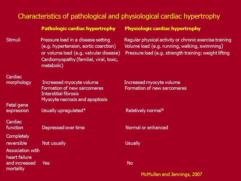 Characteristics of pathological and physiological cardiac hypertrophy Pathologic cardiac hypertrophy Physiologic cardiac hypertrophy Stimuli Pressure