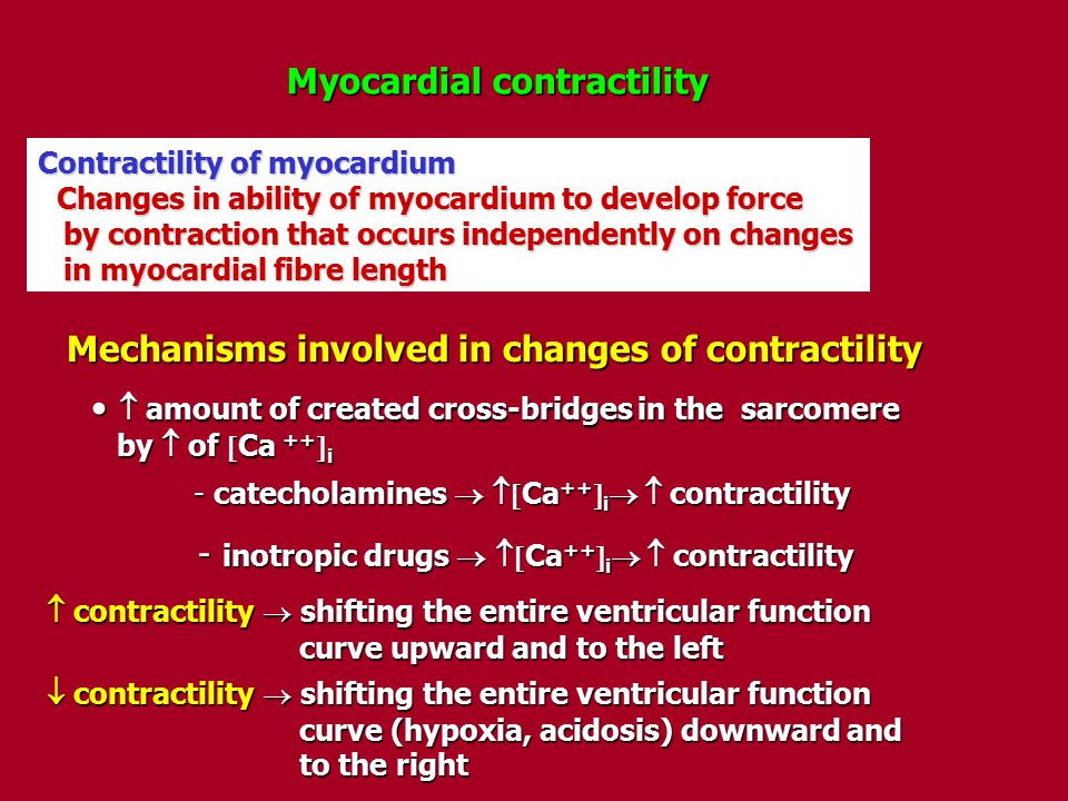 Myocardial contractility Contractility of myocardium Changes in ability of myocardium to develop force Changes in ability of myocardium to develop for