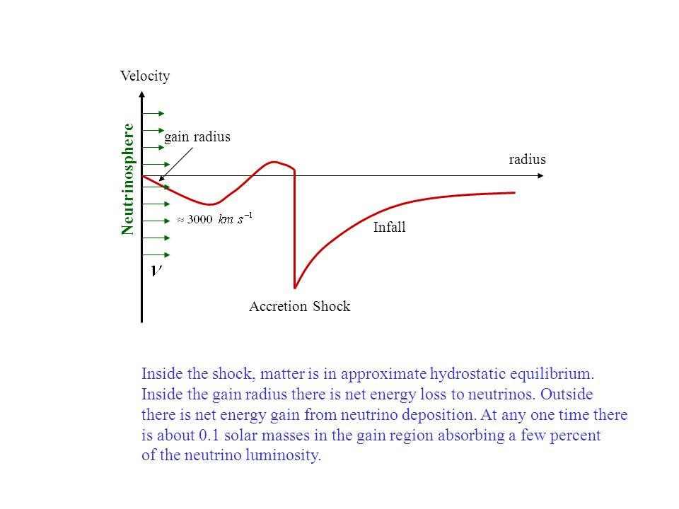 Infall Accretion Shock radius Velocity gain radius Neutrinosphere Inside the shock, matter is in approximate hydrostatic equilibrium.