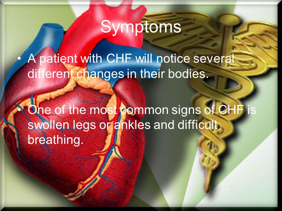 Symptoms A patient with CHF will notice several different changes in their bodies. One of the most common signs of CHF is swollen legs or ankles and d