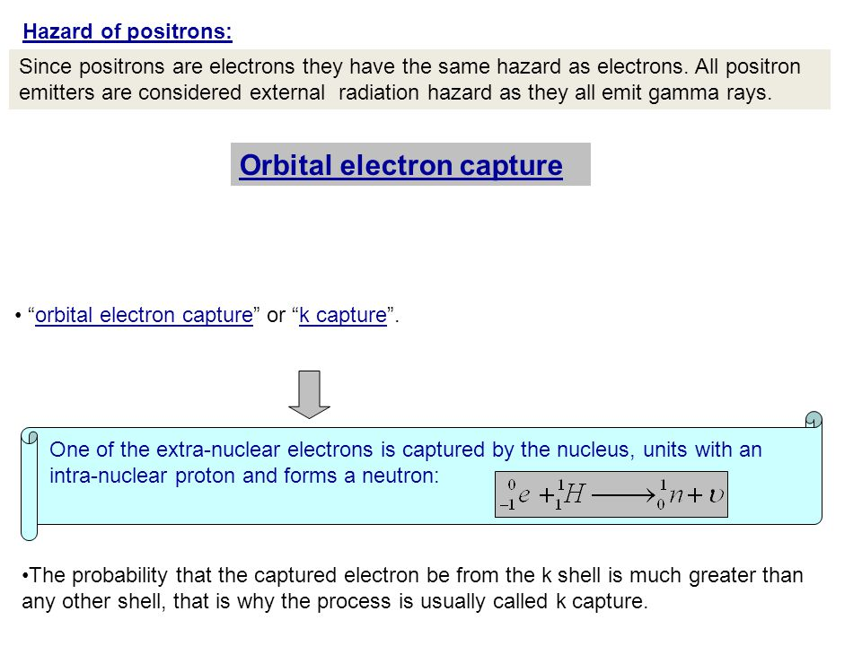 Since positrons are electrons they have the same hazard as electrons.