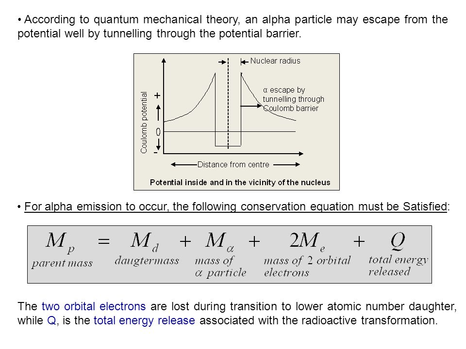 According to quantum mechanical theory, an alpha particle may escape from the potential well by tunnelling through the potential barrier.