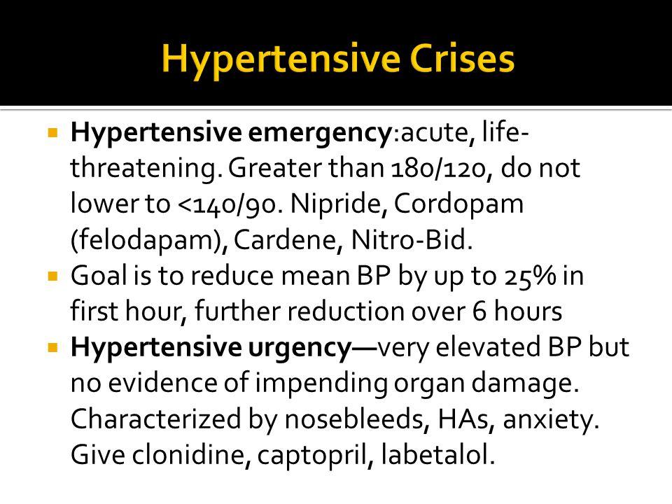  Hypertensive emergency:acute, life- threatening. Greater than 180/120, do not lower to <140/90. Nipride, Cordopam (felodapam), Cardene, Nitro-Bid. 