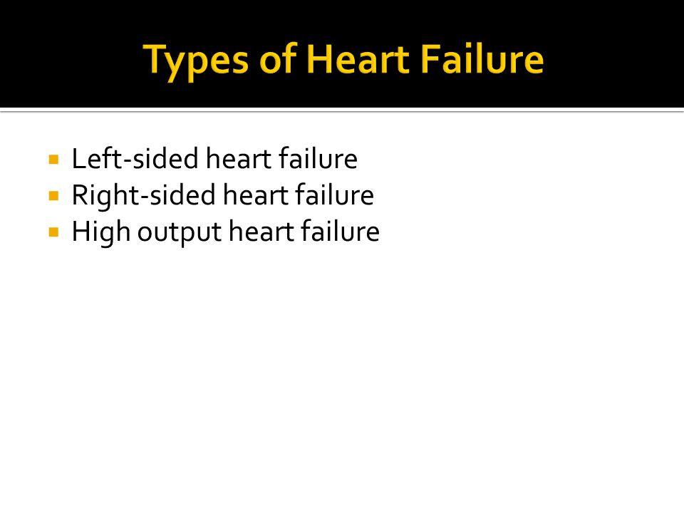  Left-sided heart failure  Right-sided heart failure  High output heart failure