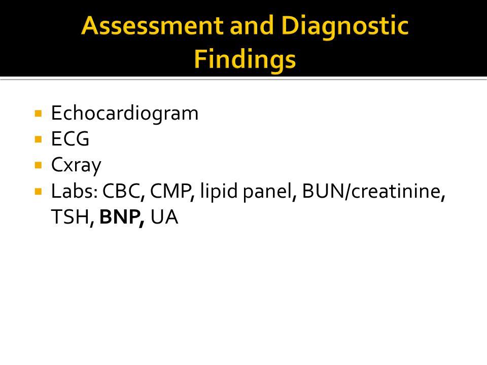  Echocardiogram  ECG  Cxray  Labs: CBC, CMP, lipid panel, BUN/creatinine, TSH, BNP, UA