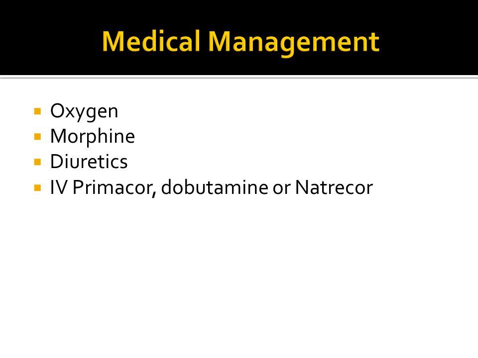  Oxygen  Morphine  Diuretics  IV Primacor, dobutamine or Natrecor