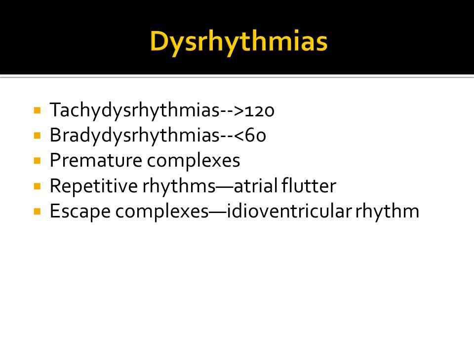  Tachydysrhythmias-->120  Bradydysrhythmias--<60  Premature complexes  Repetitive rhythms—atrial flutter  Escape complexes—idioventricular rhythm