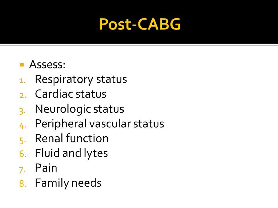  Assess: 1. Respiratory status 2. Cardiac status 3. Neurologic status 4. Peripheral vascular status 5. Renal function 6. Fluid and lytes 7. Pain 8. F
