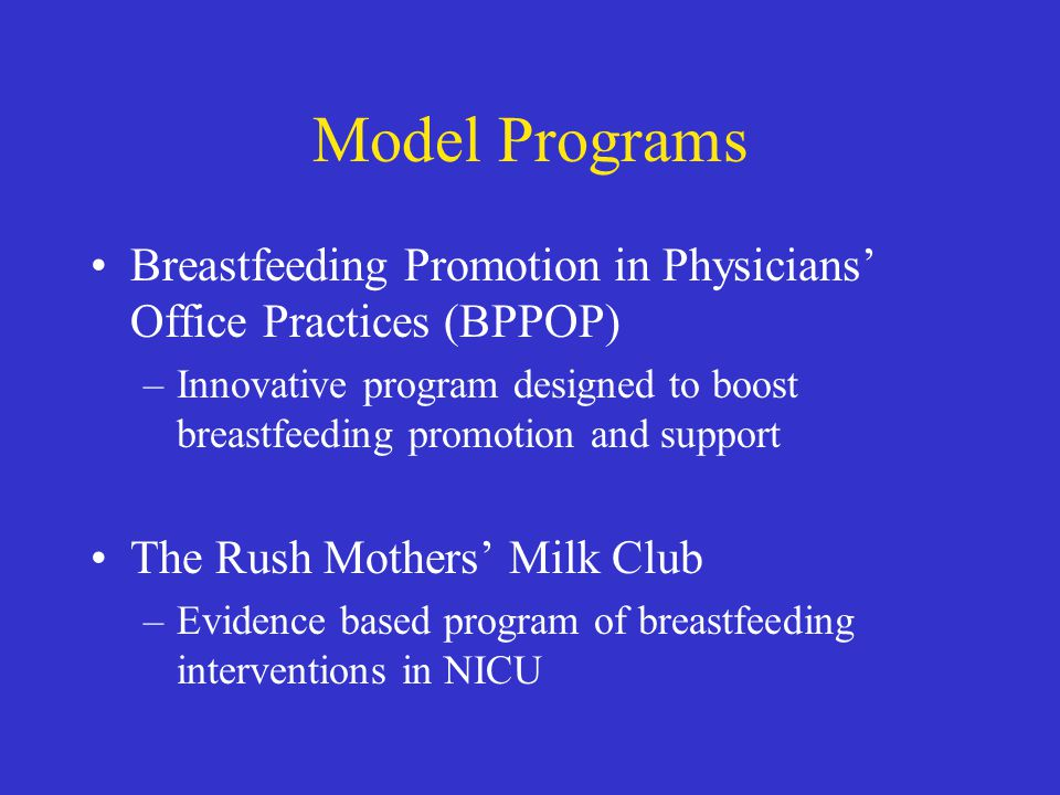 Model Programs Breastfeeding Promotion in Physicians' Office Practices (BPPOP) –Innovative program designed to boost breastfeeding promotion and support The Rush Mothers' Milk Club –Evidence based program of breastfeeding interventions in NICU