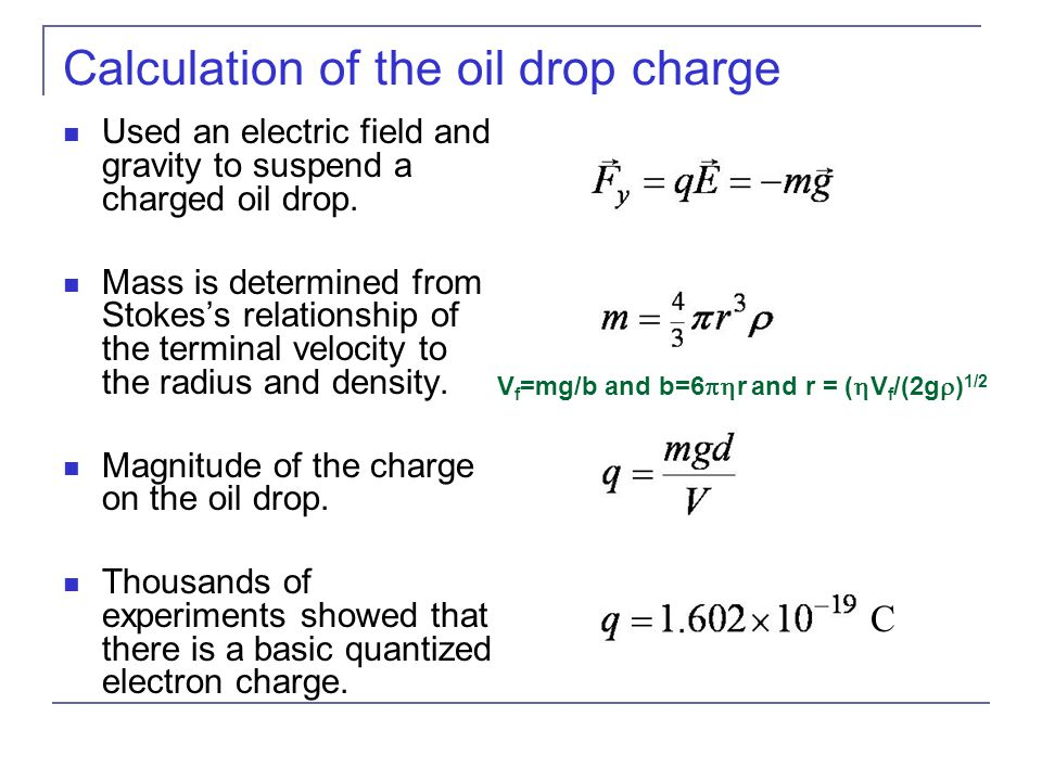 Calculation of the oil drop charge Used an electric field and gravity to suspend a charged oil drop.