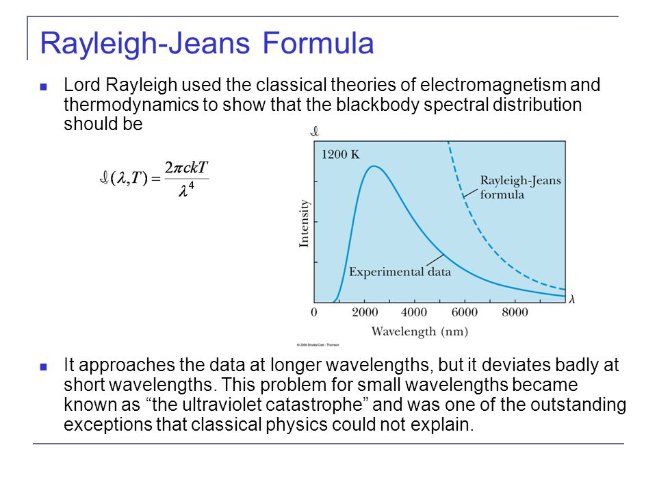 Rayleigh-Jeans Formula Lord Rayleigh used the classical theories of electromagnetism and thermodynamics to show that the blackbody spectral distribution should be It approaches the data at longer wavelengths, but it deviates badly at short wavelengths.
