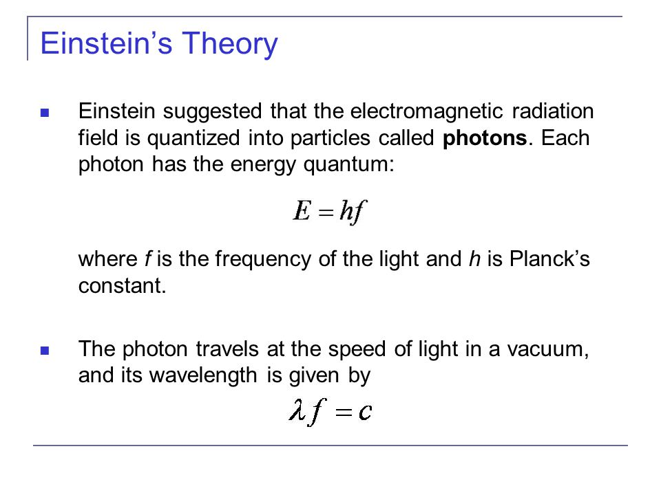 Einstein's Theory Einstein suggested that the electromagnetic radiation field is quantized into particles called photons.