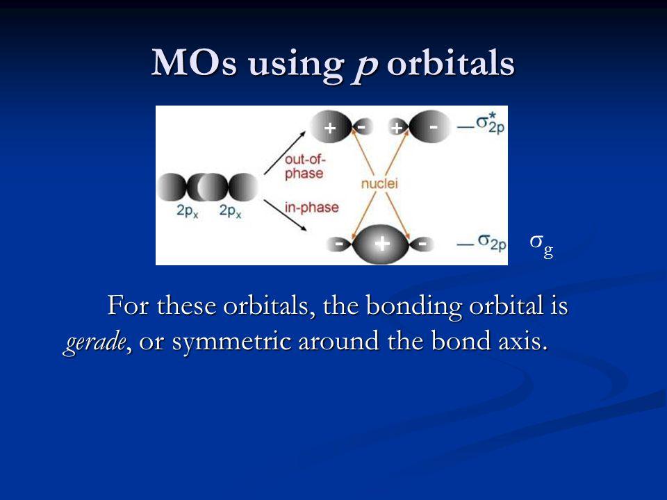 MOs using p orbitals For these orbitals, the bonding orbital is gerade, or symmetric around the bond axis.