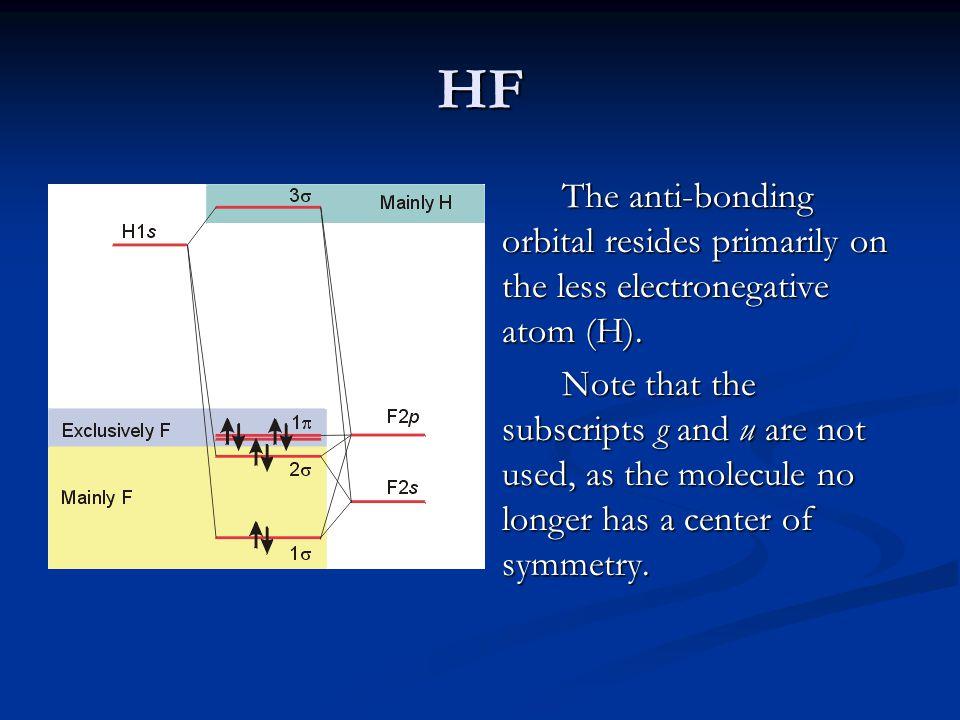 HF The anti-bonding orbital resides primarily on the less electronegative atom (H).