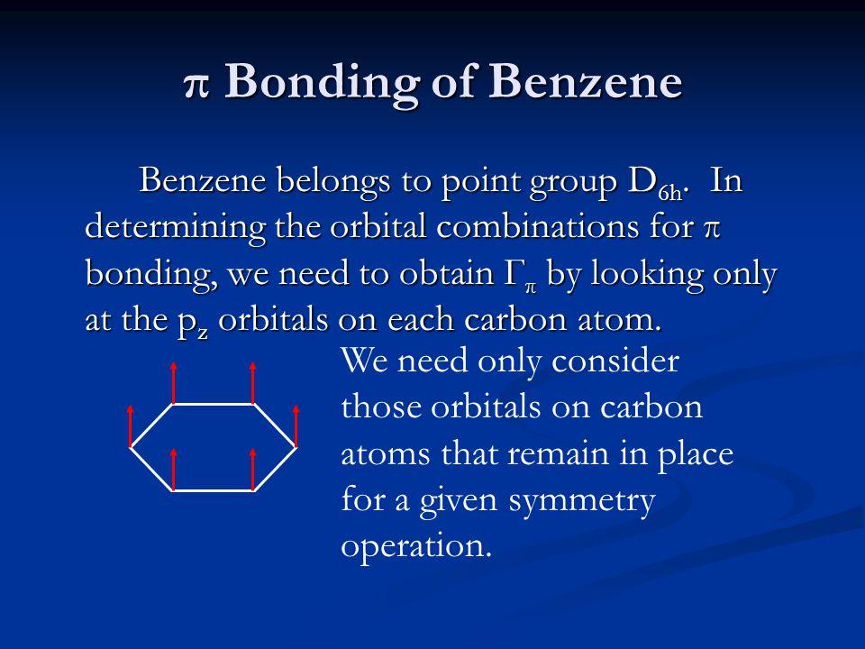 π Bonding of Benzene Benzene belongs to point group D 6h. In determining the orbital combinations for π bonding, we need to obtain Г π by looking only