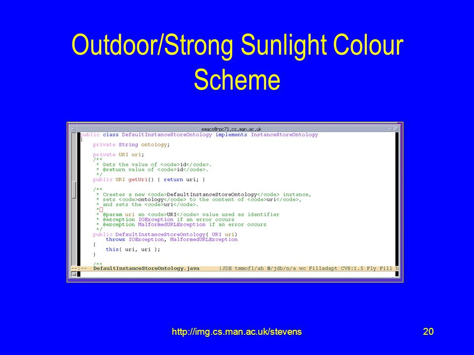 20http://img.cs.man.ac.uk/stevens Outdoor/Strong Sunlight Colour Scheme
