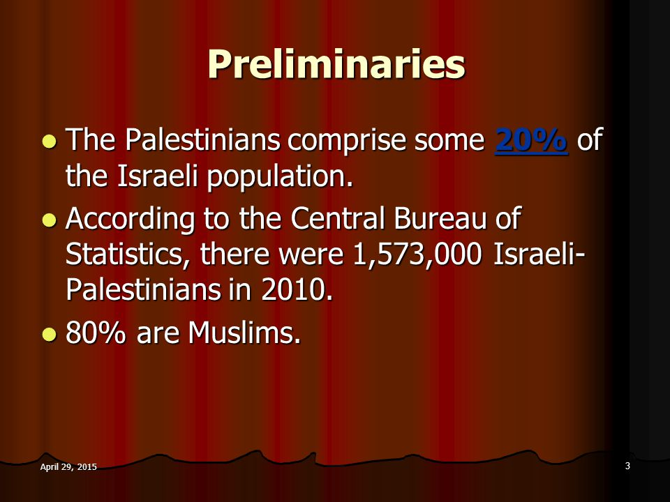 Preliminaries The Palestinians comprise some 20% of the Israeli population. The Palestinians comprise some 20% of the Israeli population. According to