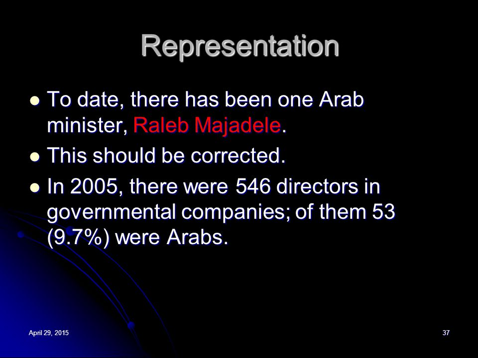 Representation To date, there has been one Arab minister, Raleb Majadele. To date, there has been one Arab minister, Raleb Majadele. This should be co