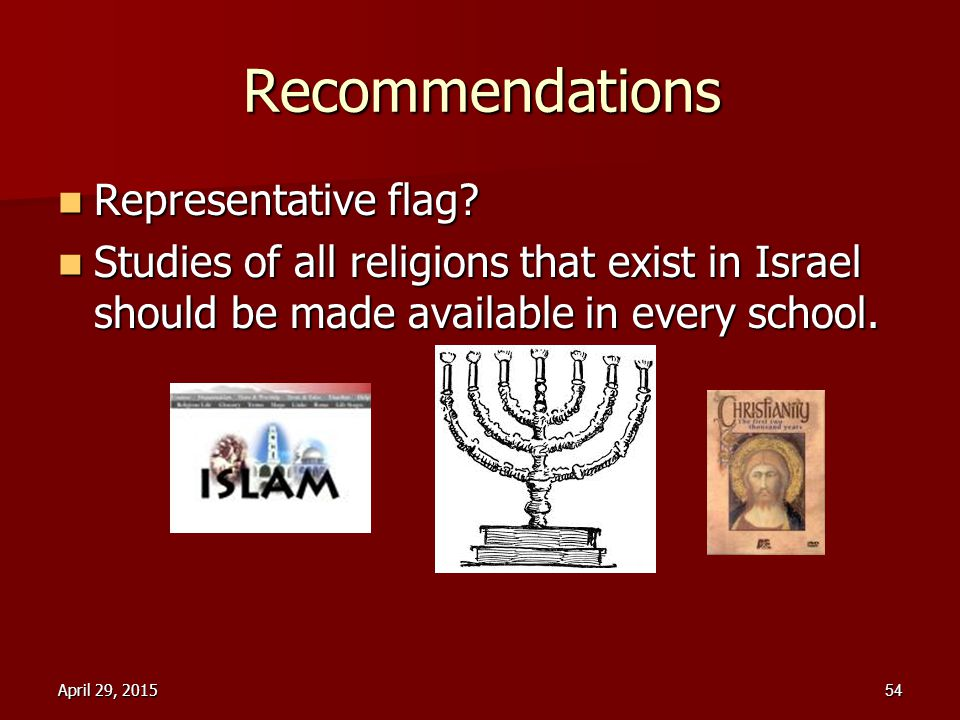 Recommendations Representative flag? Representative flag? Studies of all religions that exist in Israel should be made available in every school. Stud