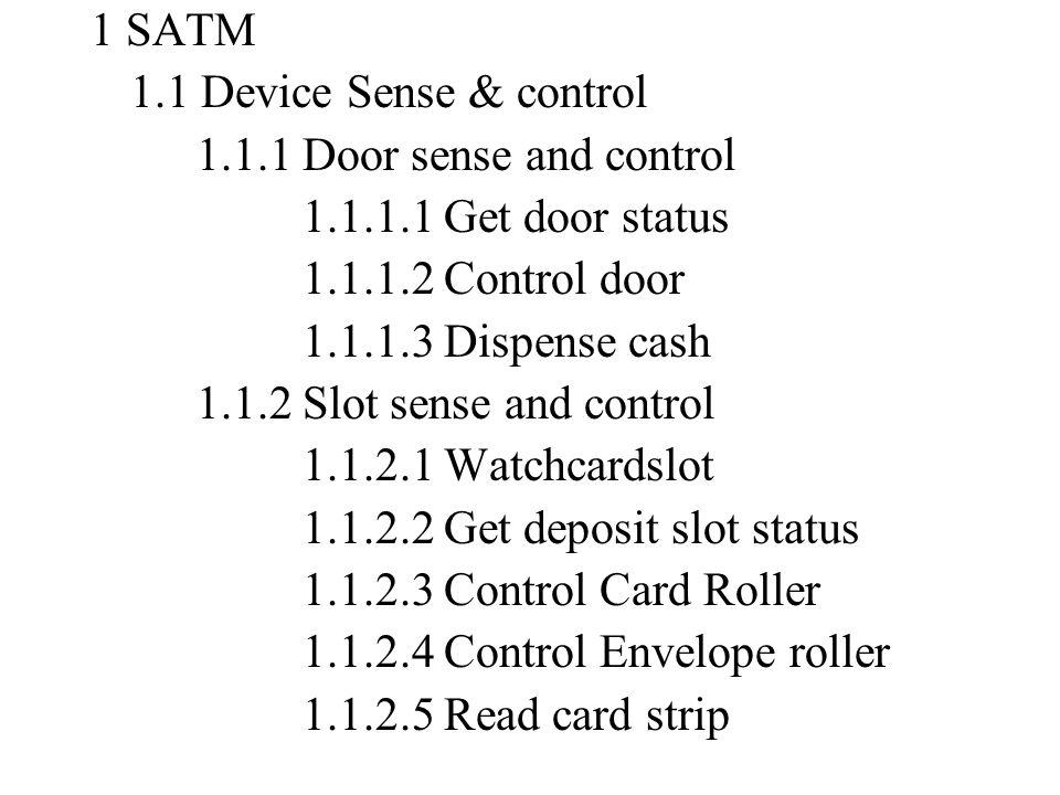 1 SATM 1.1 Device Sense & control 1.1.1 Door sense and control 1.1.1.1 Get door status 1.1.1.2 Control door 1.1.1.3 Dispense cash 1.1.2 Slot sense and