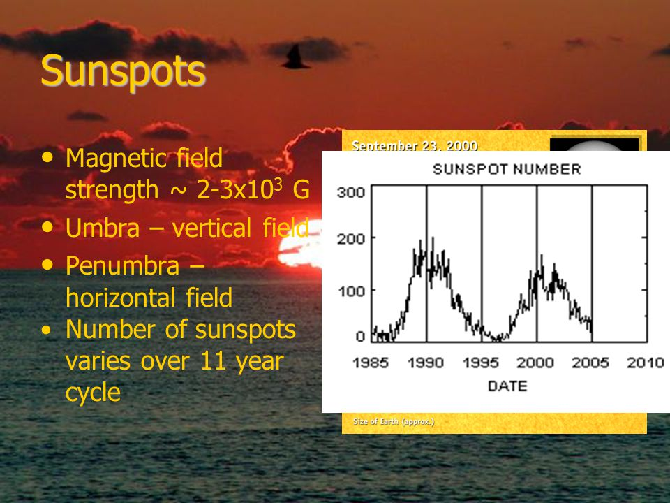 Umbra Penumbra Sunspots Magnetic field strength ~ 2-3x10 3 G Umbra – vertical field Penumbra – horizontal field Number of sunspots varies over 11 year cycle