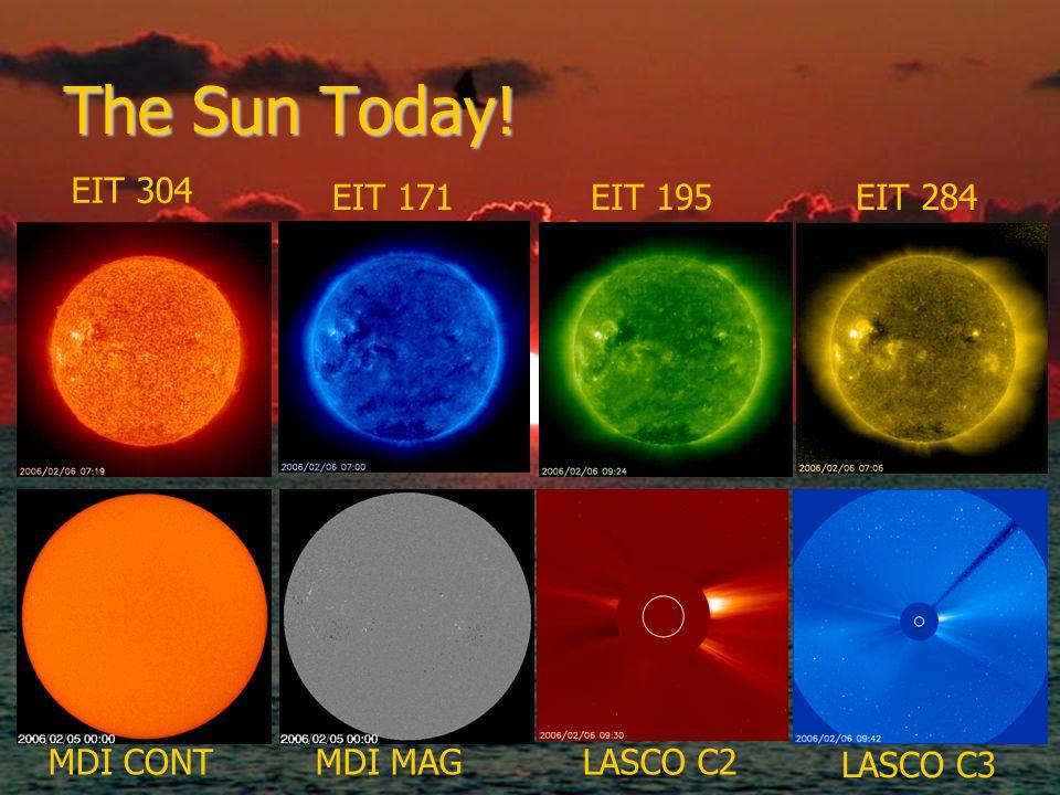 The Sun Today! EIT 304 EIT 171EIT 195EIT 284 LASCO C3 LASCO C2MDI MAGMDI CONT