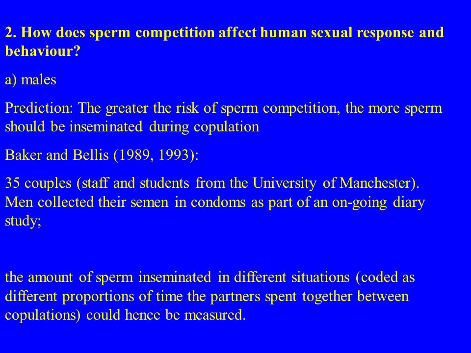 2. How does sperm competition affect human sexual response and behaviour.