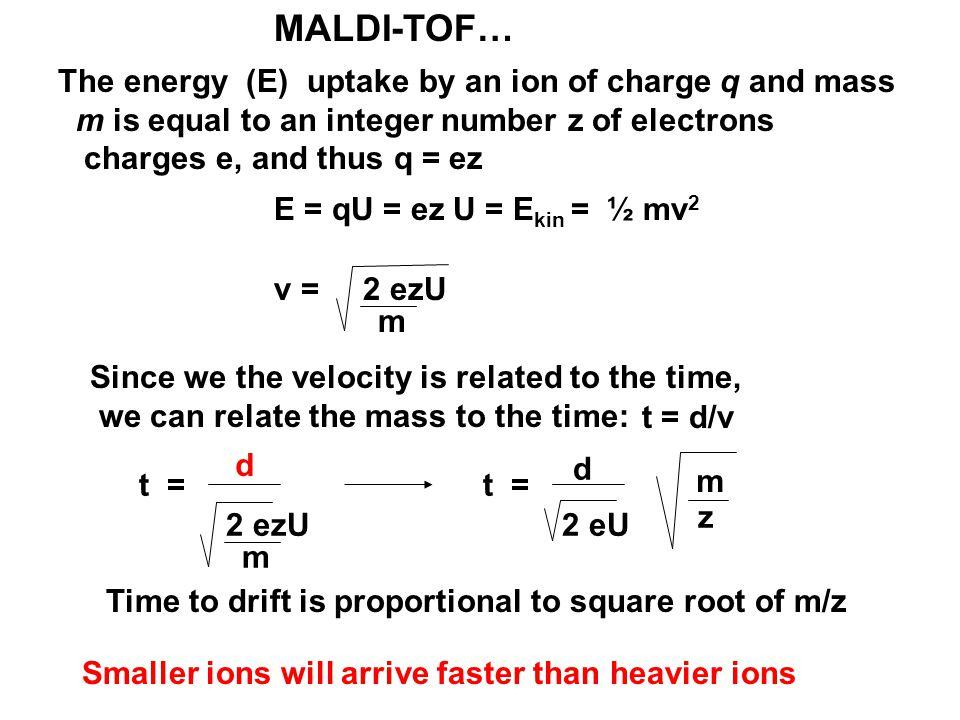 MALDI Time-of-Flight (TOF) Drift region (d) Source Heavier ions arrived later d m 2 ezU t = d 2 eU t = m z