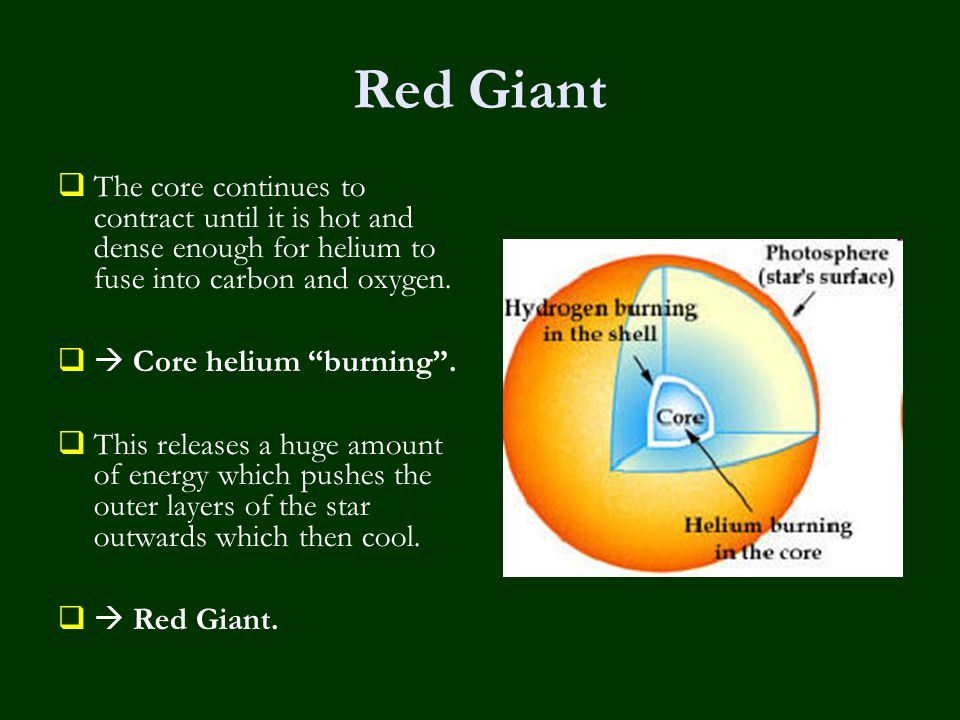 Red Giant  The core continues to contract until it is hot and dense enough for helium to fuse into carbon and oxygen.