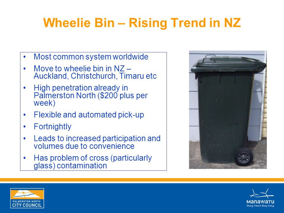 Wheelie Bin – Rising Trend in NZ Most common system worldwide Move to wheelie bin in NZ – Auckland, Christchurch, Timaru etc High penetration already