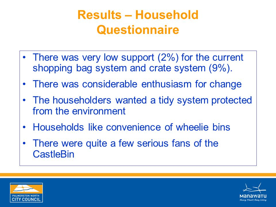 Results – Household Questionnaire There was very low support (2%) for the current shopping bag system and crate system (9%). There was considerable en