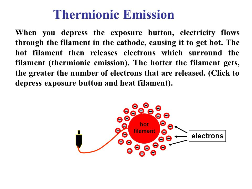 Thermionic Emission When you depress the exposure button, electricity flows through the filament in the cathode, causing it to get hot. The hot filame