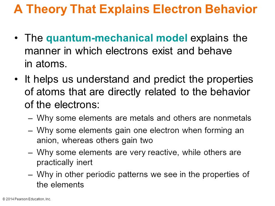 A Theory That Explains Electron Behavior The quantum-mechanical model explains the manner in which electrons exist and behave in atoms.