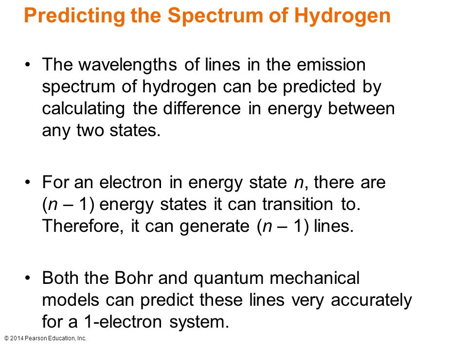 Predicting the Spectrum of Hydrogen The wavelengths of lines in the emission spectrum of hydrogen can be predicted by calculating the difference in energy between any two states.