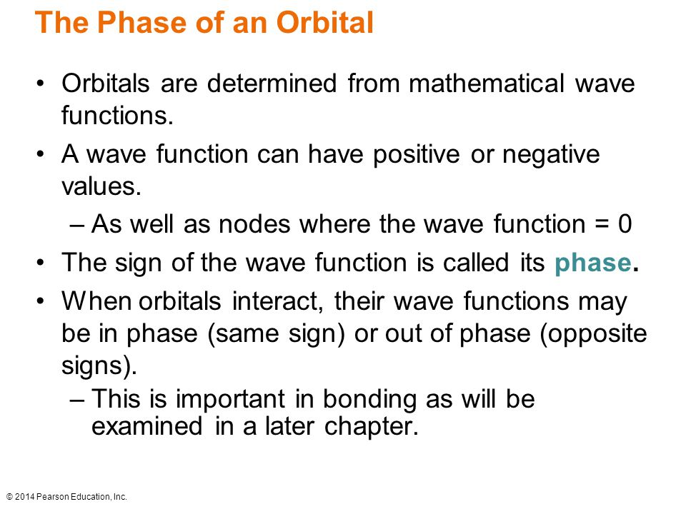 The Phase of an Orbital Orbitals are determined from mathematical wave functions.