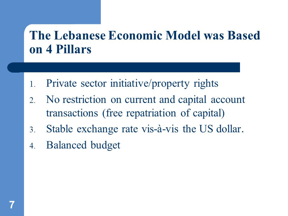 8 Model generated high growth rate and placed Lebanon in favorable position regarding other emerging markets