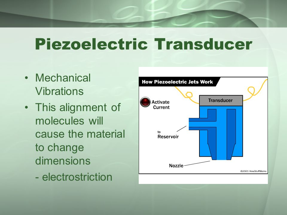 Piezoelectric Transducer Mechanical Vibrations This alignment of molecules will cause the material to change dimensions - electrostriction